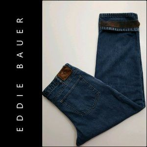 Eddie Bauer Mens Flannel Lined Blue Jeans Flannel